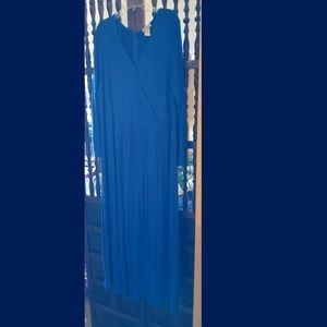 Blue Long-sleeve Surplice Empire Dress